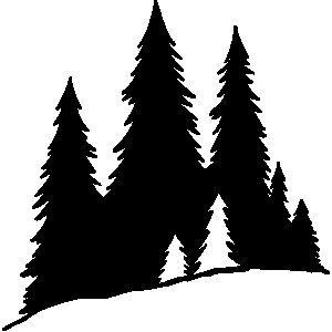 300x300 Pine Tree Silhouette Clip Cliparts Accent Wall Mural, Pine Tree
