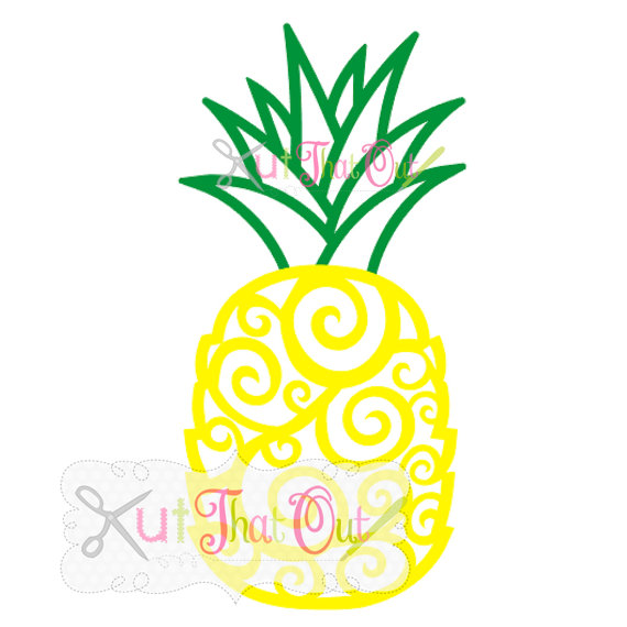 570x570 Exclusive Swirl Scroll Pineapple Svg And Dxf File By Kutthatout
