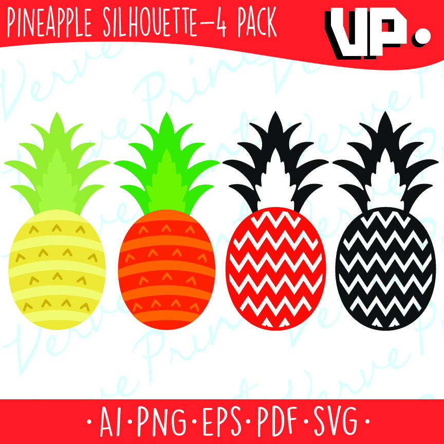 864x864 Pineapple Silhouette Svg, Ai, Eps, Pdf Cutting File, Pineapple