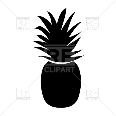 400x400 Pineapple Black Icon On White Background Royalty Free Vector Clip