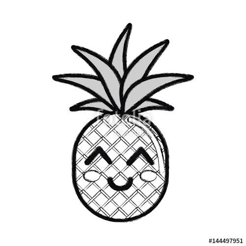 500x500 Silhouette Kawaii Cute Thinking Pineapple Vegetable Stock Image