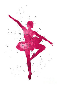213x300 Ballerina Silhouette Watercolor Painting Painting By Joanna Szmerdt