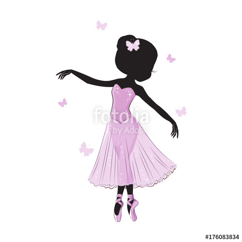 500x500 Silhouette Of Cute Little Ballerina In Pink Dress Isolated