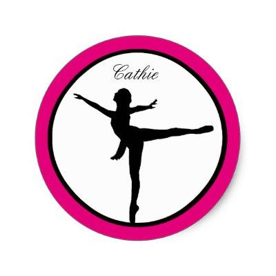 400x400 Pink Ballerina Silhouette Stickers