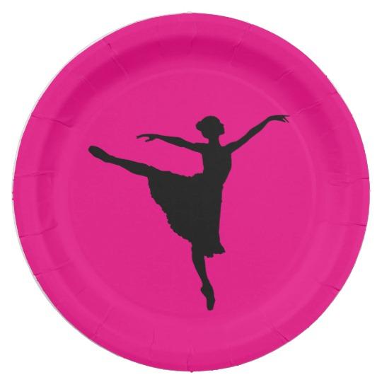 540x540 Pink Ballet Dancer Silhouette Paper Plates