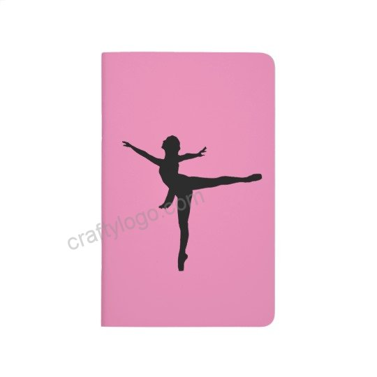 540x540 Pink Ballet Dancer Silhouette Pocket Notebook