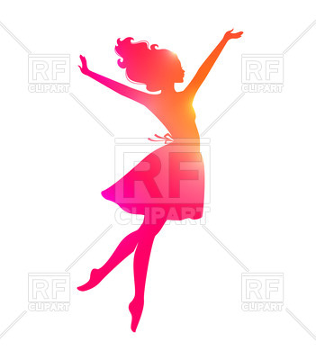 351x400 Silhouette Of Dancing Woman Royalty Free Vector Clip Art Image