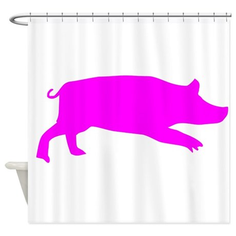 460x460 Pig Shadow Shower Curtains