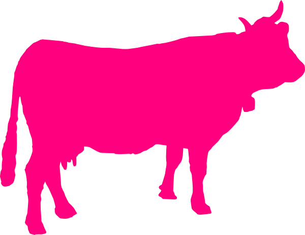 600x462 Pink Cattle Silhouette Clip Art