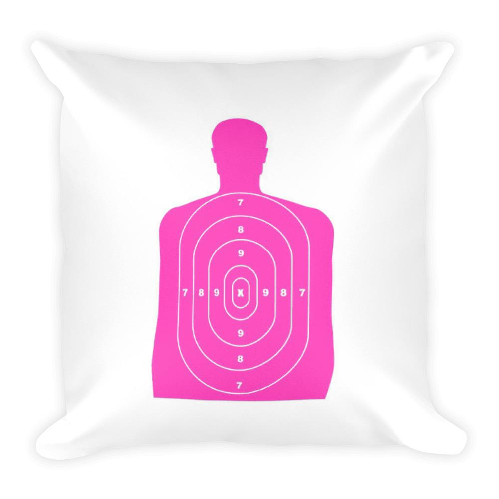 1000x1000 Guns Are Forever In Blue Dry Fire Pillow, Pink Silhouette Target