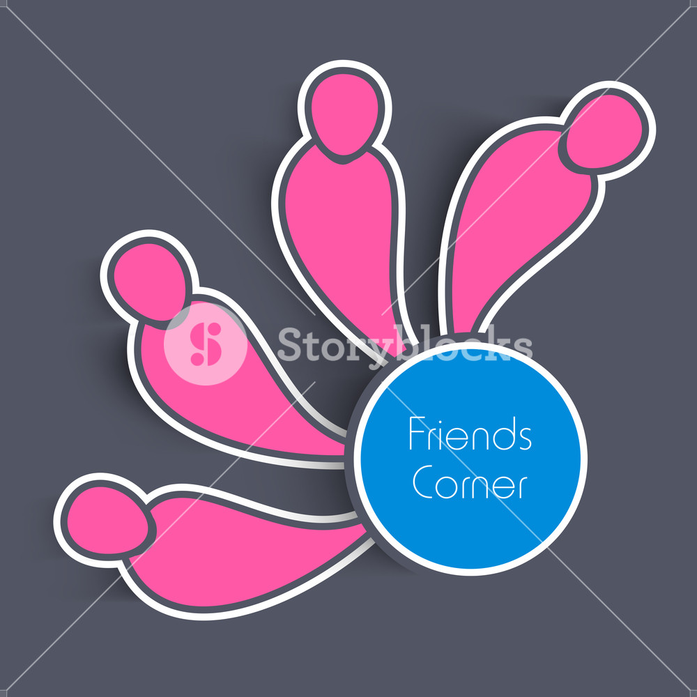 1000x1000 Happy Friendship Day Concept With Pink Silhouette Of Friends