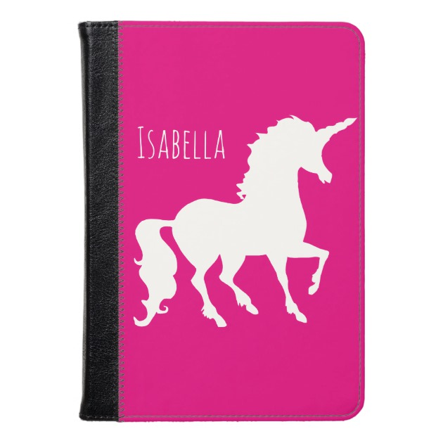 630x630 Hot Pink Unicorn Silhouette Kids Personalized Kindle Case