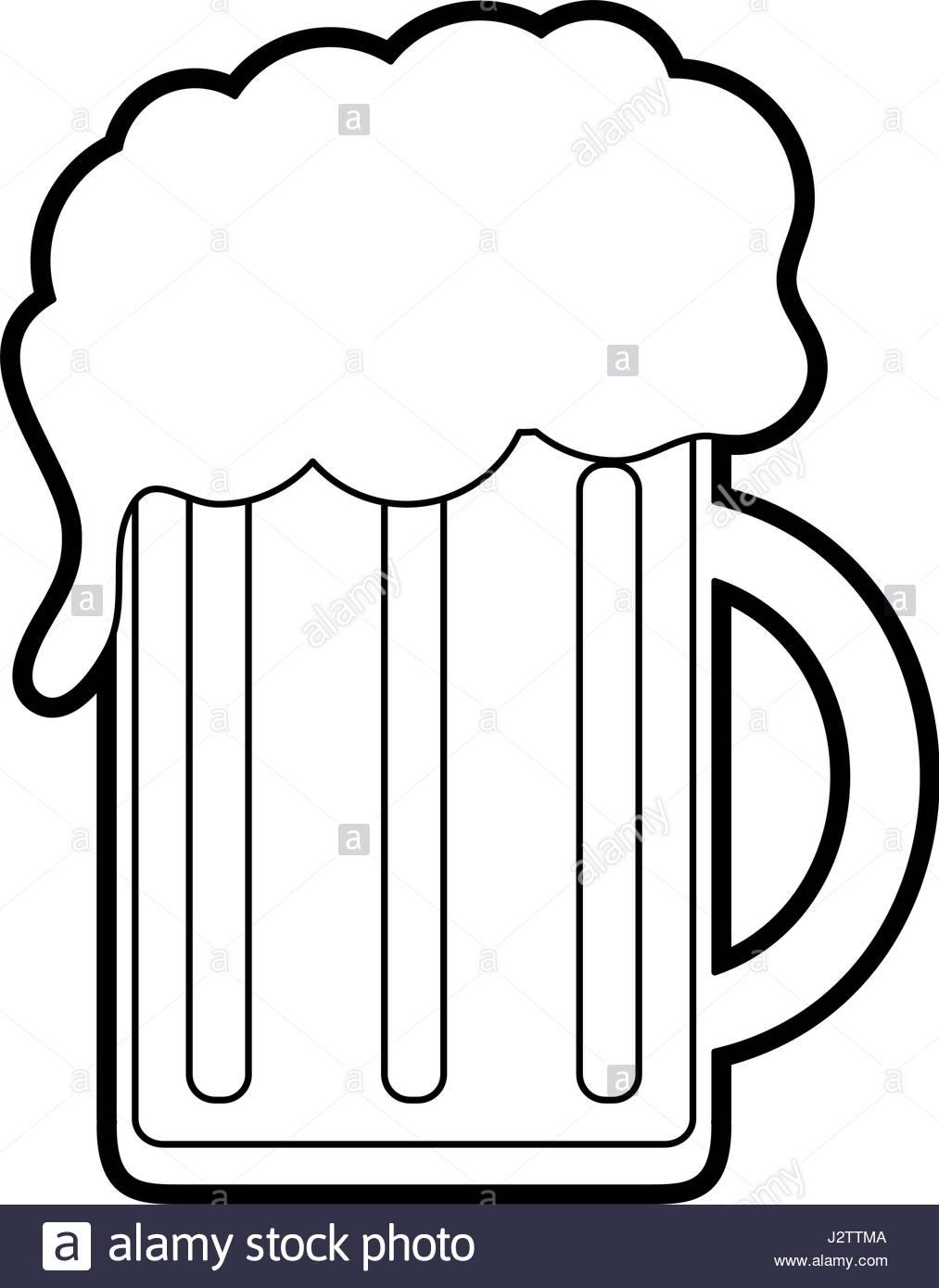 1013x1390 Black Silhouette Cartoon Beer Jar Glass With Foam Stock Vector Art