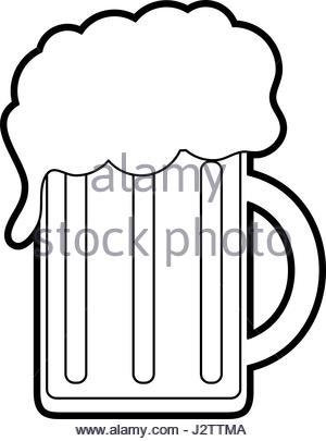 300x405 Silhouette Glass Beer Mug Foam Cold Drink Stock Vector Art