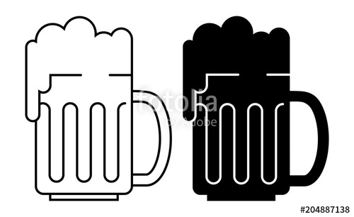 500x306 Bold Silhouette And Line Silhouette Of A Beer Glass, Isolated