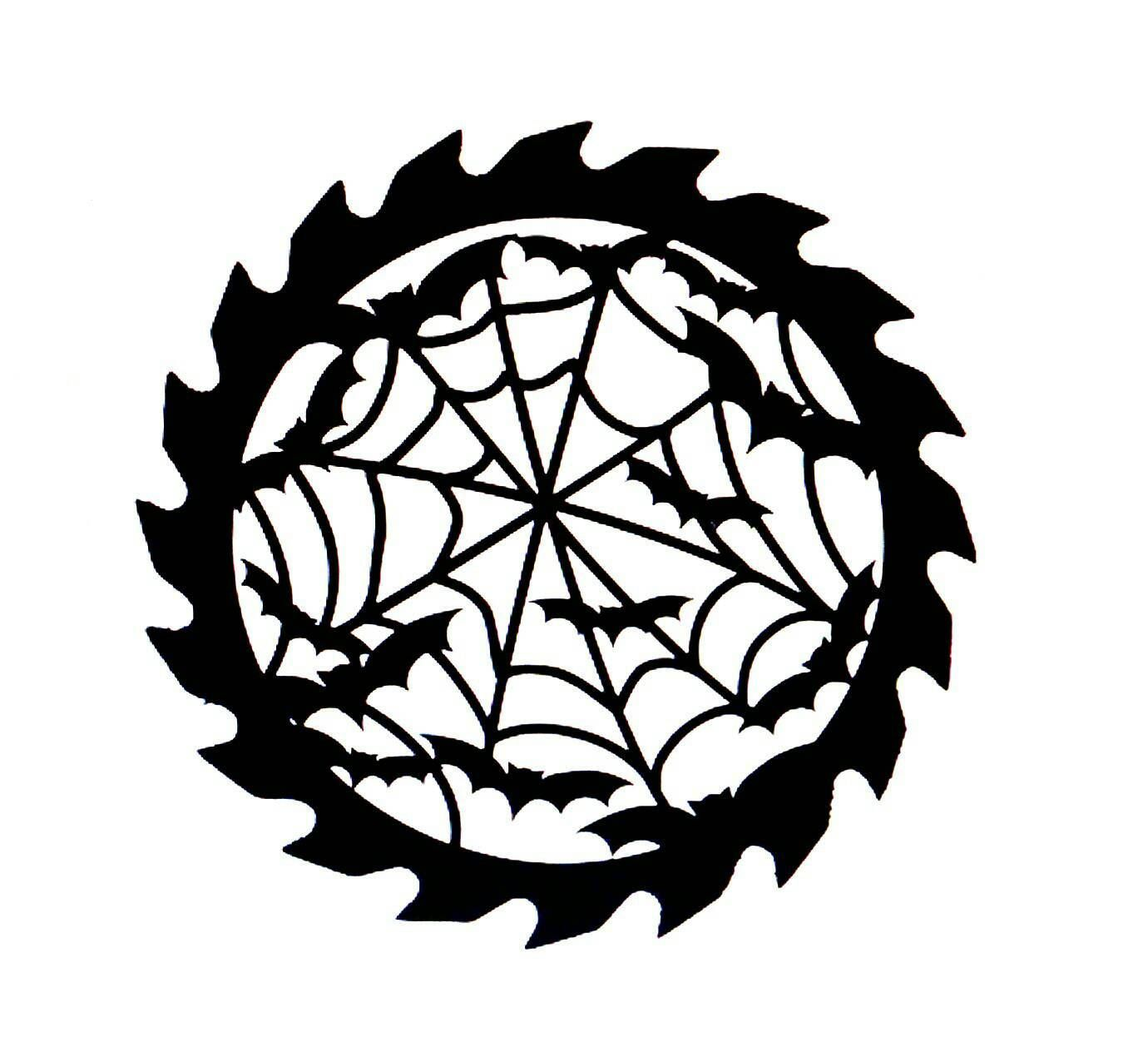 1380x1264 Bats In A Web Saw Blade Cardstock Cutouts, Saw Blade Silhouette