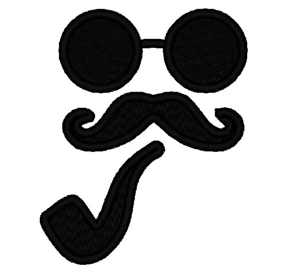 570x550 Glasses And Moustache Mustache Pipe Silhouette Applique.