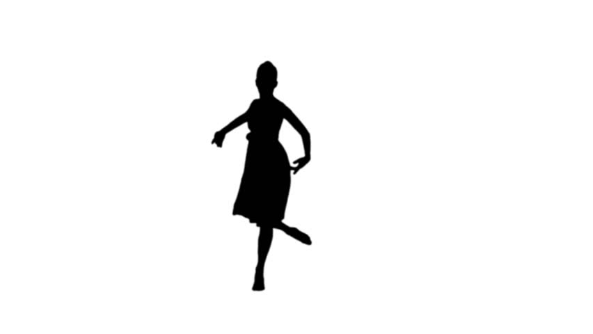 852x480 Ballerina Dancing In Black Silhouette On White Background Stock