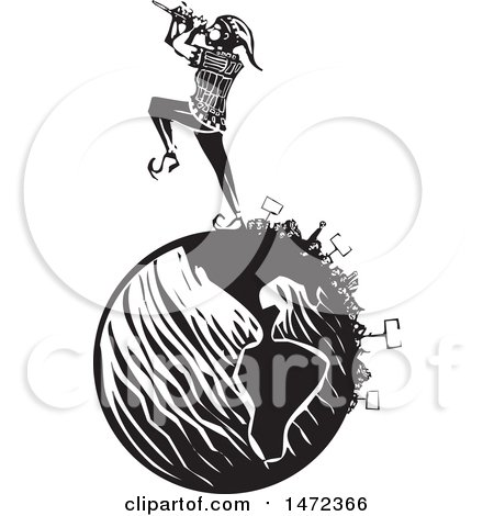 450x470 Clipart Of A The Pied Piper Marching And Playing A Pipe On A Globe