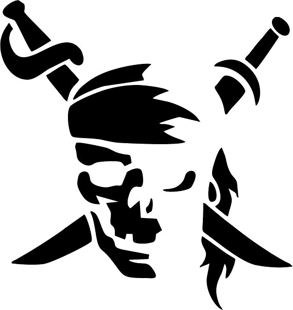 569x602 Pirate Silhouette Vinyl Car Decal, Laptop Decal, Car