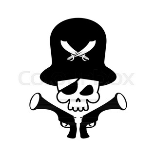 320x320 Jolly Roger Pirate Flag With Skull And Swords In Bandana Stock