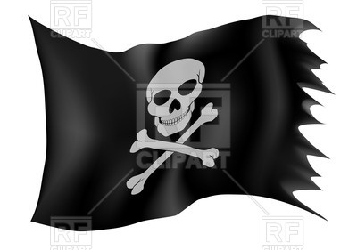 400x281 Black Pirate Flag With Skull Royalty Free Vector Clip Art Image