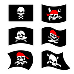 150x150 Black Pirate Flag With Skull On Stick And Two Retro Flintlock