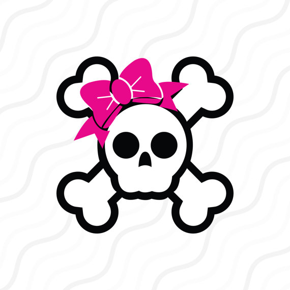 570x570 Skull With Bow Svg, Pirate Skull Svg, Bow Svg Cut Table Design,svg
