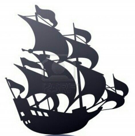 472x476 Old Sailing Pirate Ship Templatestencil Mural. I