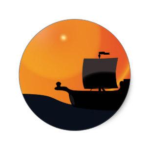307x307 Pirate Ship Silhouette Stickers Zazzle
