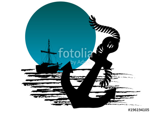 500x375 Silhouette Of The Pirate Ship And Anchor Stock Image And Royalty