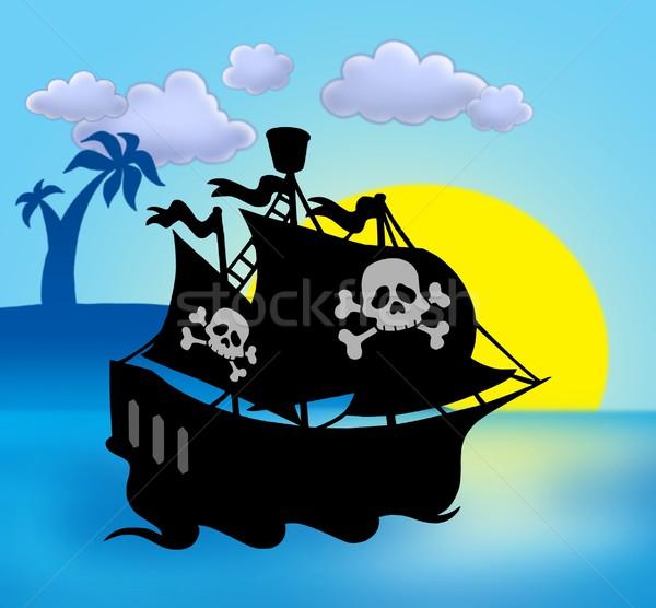 600x556 Sunset With Pirate Ship Silhouette Stock Photo Klara Viskova