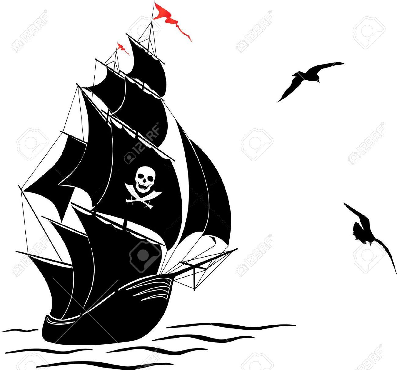 Pirate Ship Silhouette Clip Art