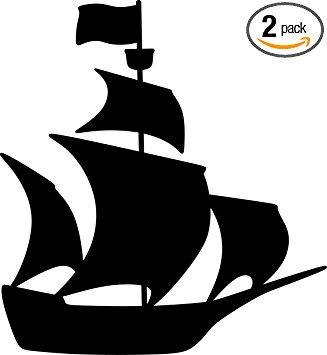 327x355 Pirate Ship Silhouette (Black) Waterproof Vinyl Decal