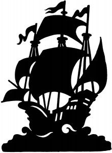 220x300 Ship Silhouette Could Be Made Of Paper Or Board And Hung