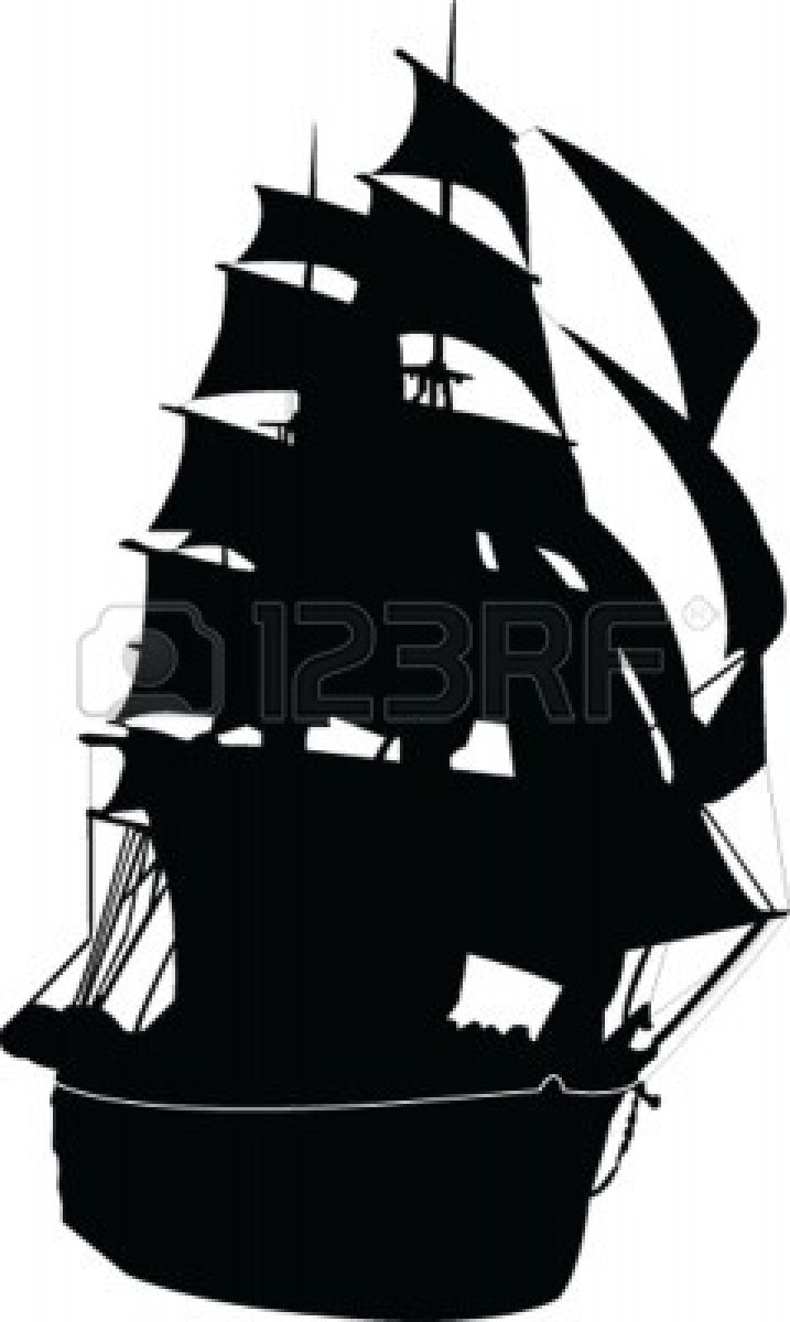 717x1200 Silhouette Of Old Sailing Ship Royalty Free Cliparts Vectors