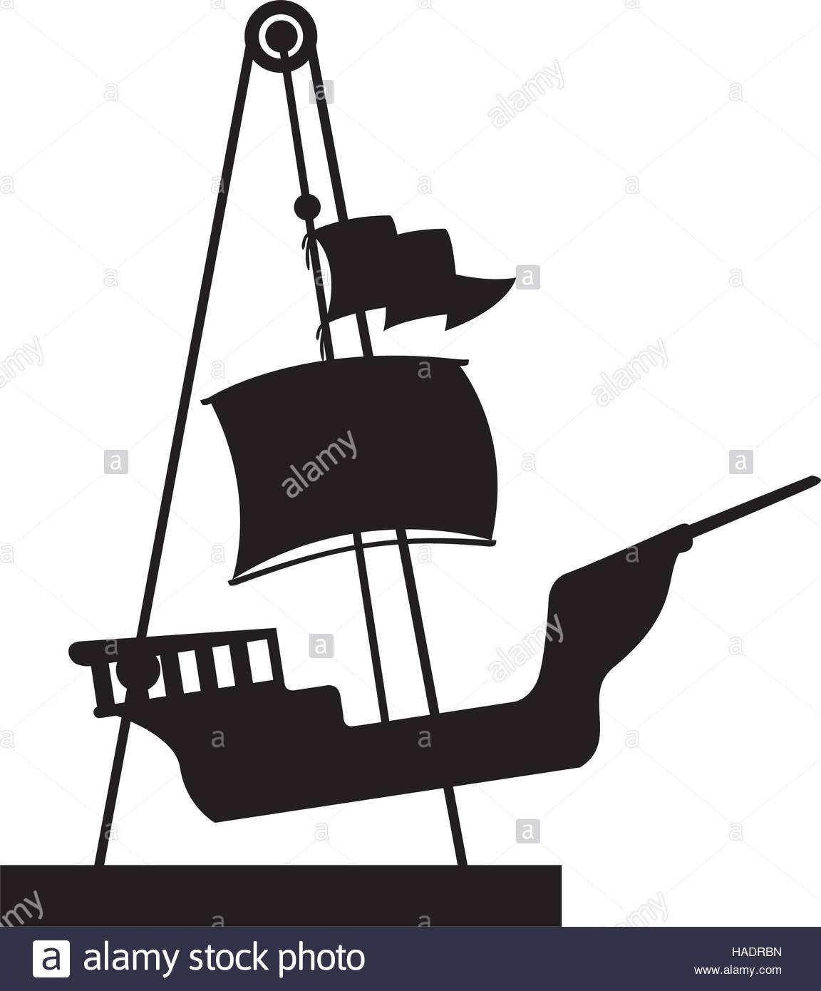 1152x1390 Silhouette Amusement Park Pirate Ship Line Icon Vector