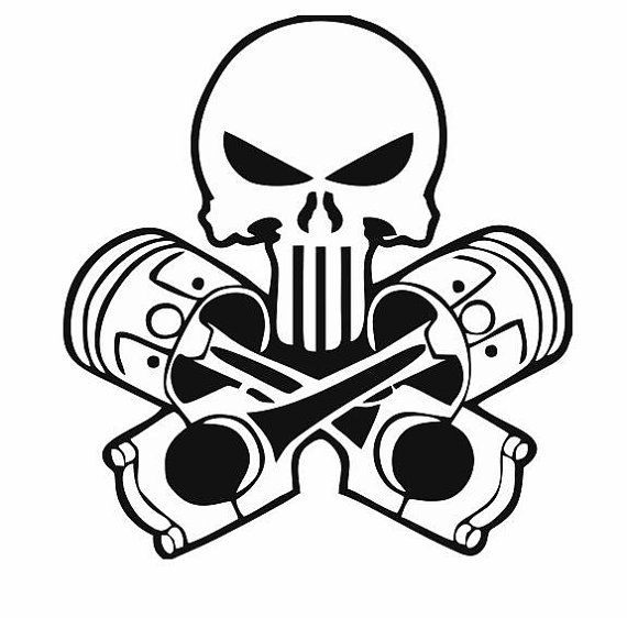 570x562 Skull And Pistons Decal For Car And Home Skull Decals, Mechanic