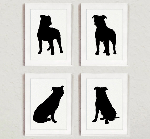 570x528 Pitbull Set Of 4 Dog Home Decor Pit Bull Silhouette Ink