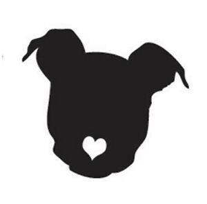300x296 Pitbull With Heart Cutout Nose Or Angel Pit Bull Decal Sticker Ebay