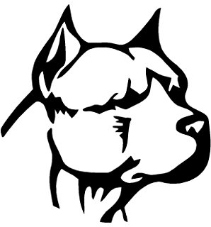 298x320 Pitbull With Heart Silhouette Love Funny Vinyl Decal