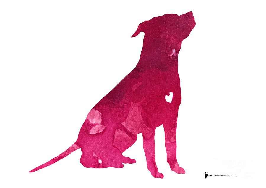900x639 Pink Pitbull Silhouette Large Poster Painting By Joanna Szmerdt