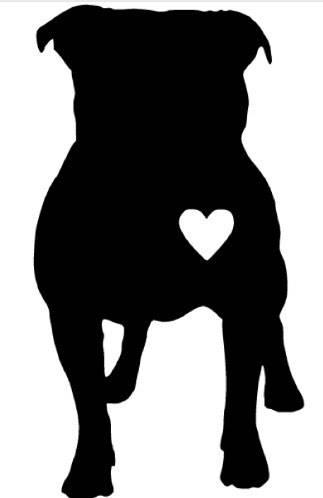 323x498 Pitbull Standing Floppy Ears Heart Vinyl Decal Pit Silhouette