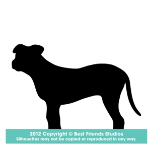 300x300 American Pit Bull Silhouette Gifts, Stationery, Address Labels