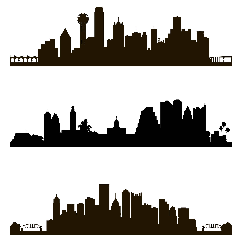 3000x3000 City Skyline Svg, City Silhouette, Silhouette Skyline, Skyline Svg