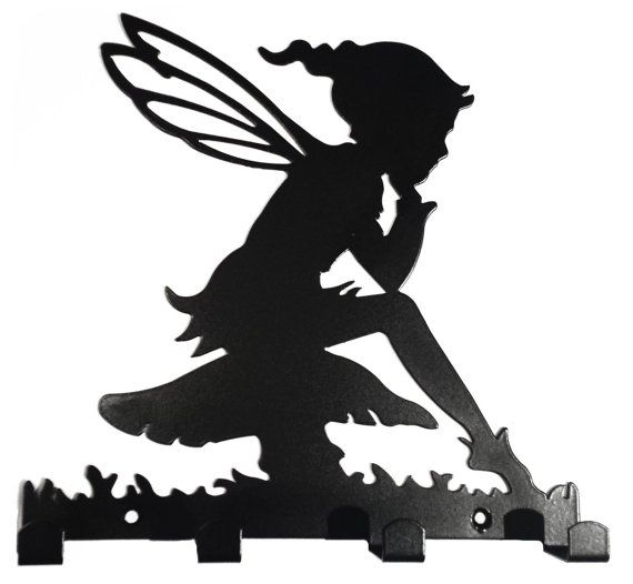 570x526 Pixie Girl Sat On Toadstool Silhouette Coatdog Lead Hook Rack