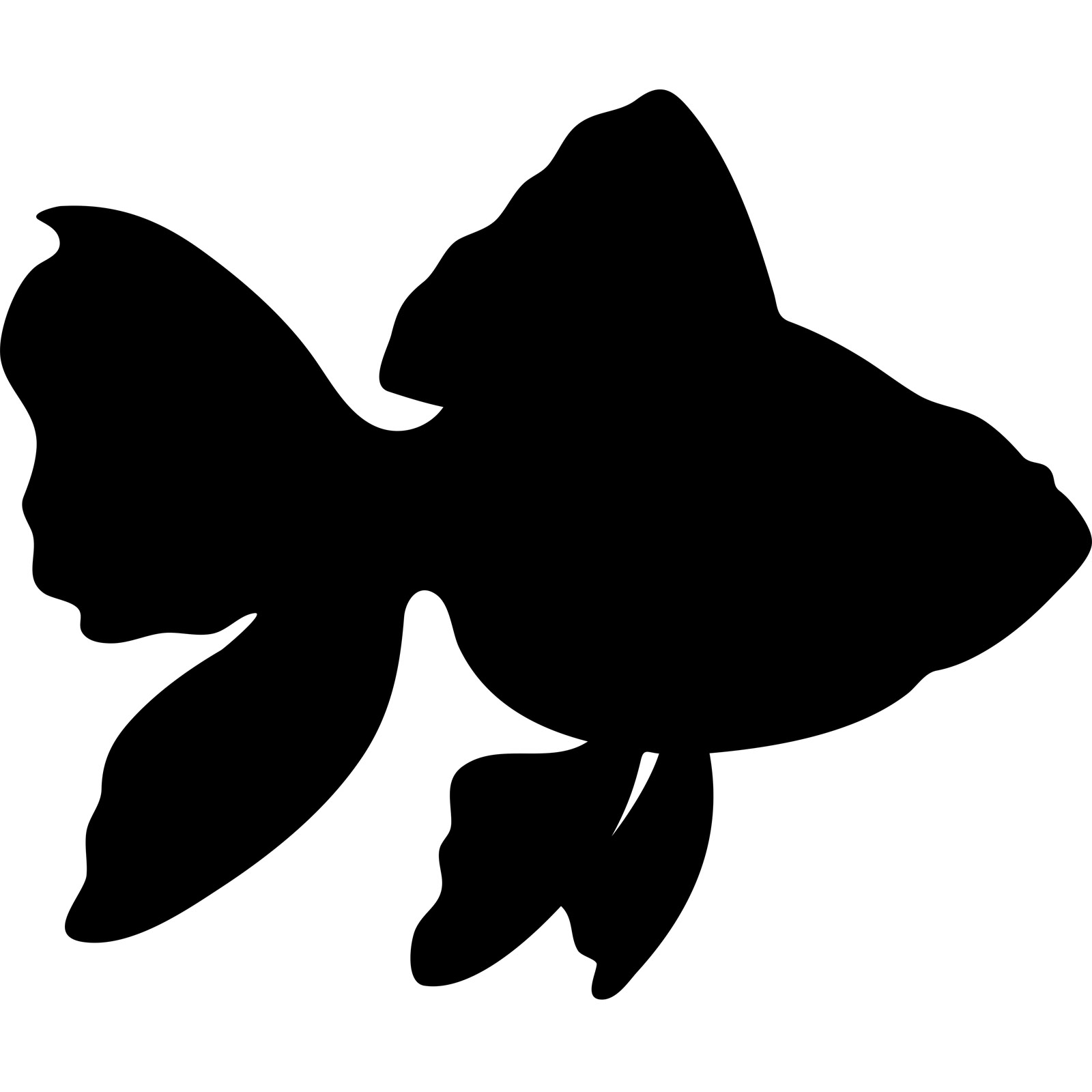 1600x1600 Gold Fish Silhouette Wall Sticker