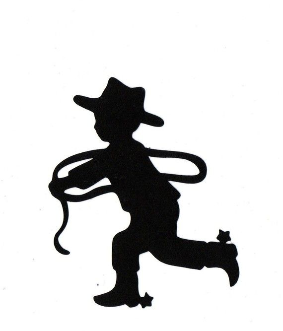 570x667 Little Cowboy Child Silhouette Die Cut For Scrap Booking Or Card