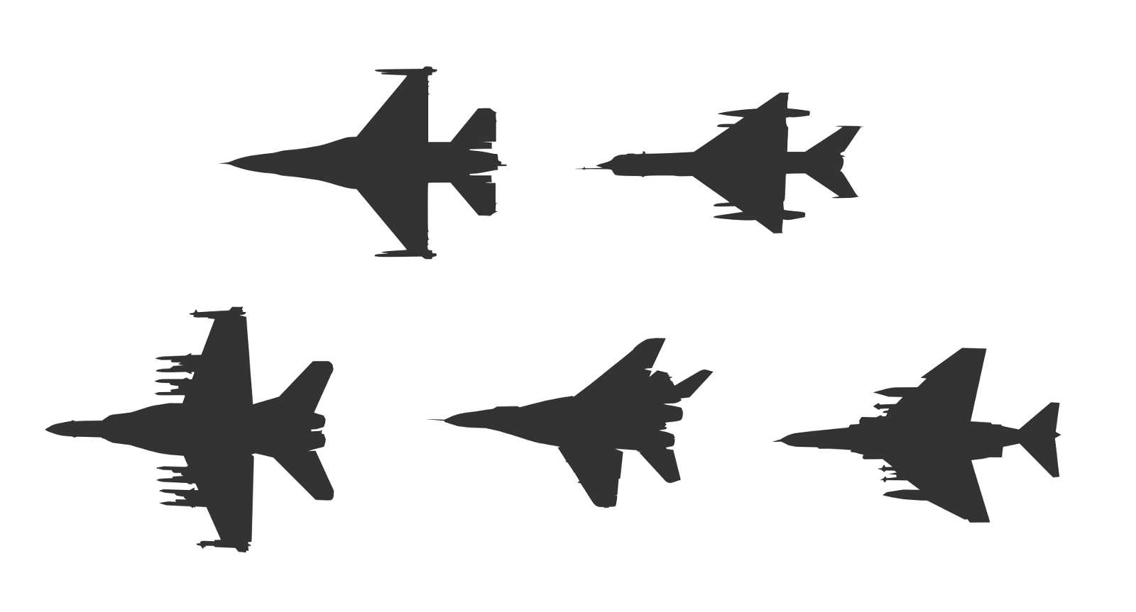 1600x863 5 Fighter Plane Top View Silhouette Vector (Eps, Svg)