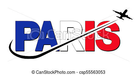 450x245 Paris Flag Text With Plane Silhouette And Swoosh Stock